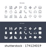 icons set for toolbar in flat... | Shutterstock .eps vector #174124019