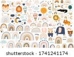 abstract doodles. baby animals... | Shutterstock .eps vector #1741241174