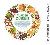 turkish cuisine circle banner... | Shutterstock .eps vector #1741256324