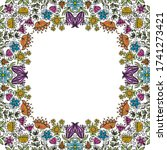 decorative floral frame. vector ... | Shutterstock .eps vector #1741273421