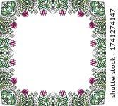 decorative floral frame. vector ... | Shutterstock .eps vector #1741274147