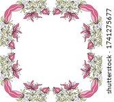 decorative floral frame. vector ... | Shutterstock .eps vector #1741275677