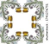decorative floral frame. vector ... | Shutterstock .eps vector #1741276751
