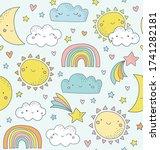 cute sky pattern. seamless... | Shutterstock .eps vector #1741282181