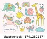 set of cute hand drawn childish ... | Shutterstock .eps vector #1741282187