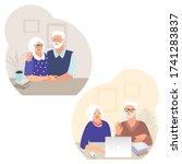 set of senior couples. happy...   Shutterstock .eps vector #1741283837