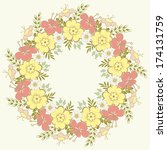 cute floral wreath.  perfect... | Shutterstock .eps vector #174131759