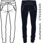 trousers fashion flat sketch ... | Shutterstock .eps vector #1741326104