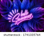 hello summer neon text on a... | Shutterstock .eps vector #1741335764