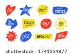 grunge sale flat badges set.... | Shutterstock .eps vector #1741354877