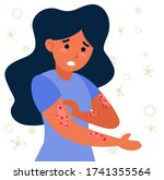 woman with strong allergy... | Shutterstock .eps vector #1741355564