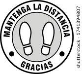 "mantenga la distancia gracias  ""... | Shutterstock .eps vector #1741394807"