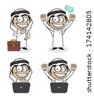 arabian,arabic,business,confidence,excited,expressions,facial,happy,hope,laptop,male,man,mascot,outfit,saudi