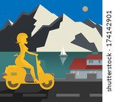 alps,bike,cycle,drive,female,girl,holiday,hot,icy,illustration,isolated,italian,landscape,leisure,lifestyle