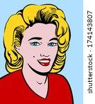 blond woman in pop art style | Shutterstock .eps vector #174143807