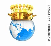 Gold Crown On Earth Isolated On ...