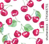 sweet cherry. beautiful summer... | Shutterstock . vector #1741465751