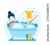 woman is taking bath and... | Shutterstock . vector #1741468874