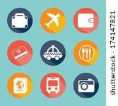 travel design over blue... | Shutterstock .eps vector #174147821