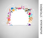 back to school circle seamless... | Shutterstock .eps vector #174148241