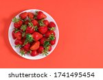 Strawberry On White Plate....