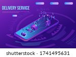 isometric delivery service with ... | Shutterstock .eps vector #1741495631
