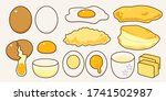 fresh eggs menu collection in... | Shutterstock .eps vector #1741502987
