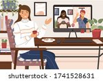 virtual meeting. video chat... | Shutterstock .eps vector #1741528631
