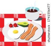 wholesome breakfast vector... | Shutterstock .eps vector #1741556477