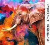 Modern Oil Painting Of Elephan...