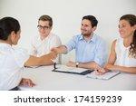 business people shaking hands... | Shutterstock . vector #174159239