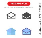 mortarboard icon pack isolated...
