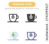 tea icon pack isolated on white ...