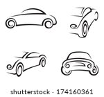 set of four monochrome car | Shutterstock .eps vector #174160361