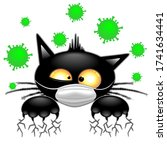 cat with face mask scared by... | Shutterstock .eps vector #1741634441