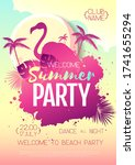colorful summer disco party... | Shutterstock .eps vector #1741655294