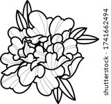 peony art work tattoo flash... | Shutterstock .eps vector #1741662494