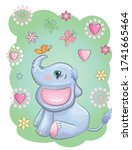 cute cartoon elephant with... | Shutterstock .eps vector #1741665464