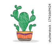 cactus in a flower pot  color... | Shutterstock .eps vector #1741669424