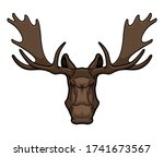 angry elk or moose mascot with... | Shutterstock .eps vector #1741673567