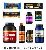 sport nutrition realistic jars  ... | Shutterstock .eps vector #1741678421