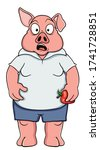 cartoon scared pig in clothes... | Shutterstock .eps vector #1741728851