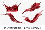 splash of wine or red juice... | Shutterstock .eps vector #1741739027