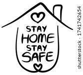 stay home stay safe poster... | Shutterstock .eps vector #1741742654