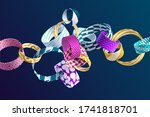multicolored decorative chain.... | Shutterstock .eps vector #1741818701