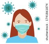 a woman is wearing masker to... | Shutterstock .eps vector #1741861874