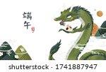 dragon boat festival poster ...   Shutterstock .eps vector #1741887947