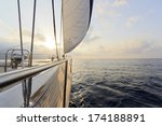 yacht sailing to the sunset | Shutterstock . vector #174188891
