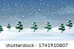 scene with snow falling on the... | Shutterstock .eps vector #1741910807