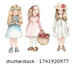 Set Of Three Drawings Of Little ...